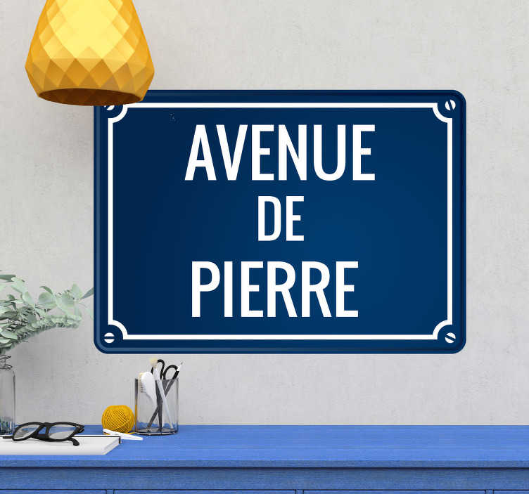 TenStickers. Stickers Monde Plaque de Rue. Devenez propriétaire d'une avenue du monde à votre nom en prenant ce sticker personnalisable dans votre maison. Livraison Rapide.