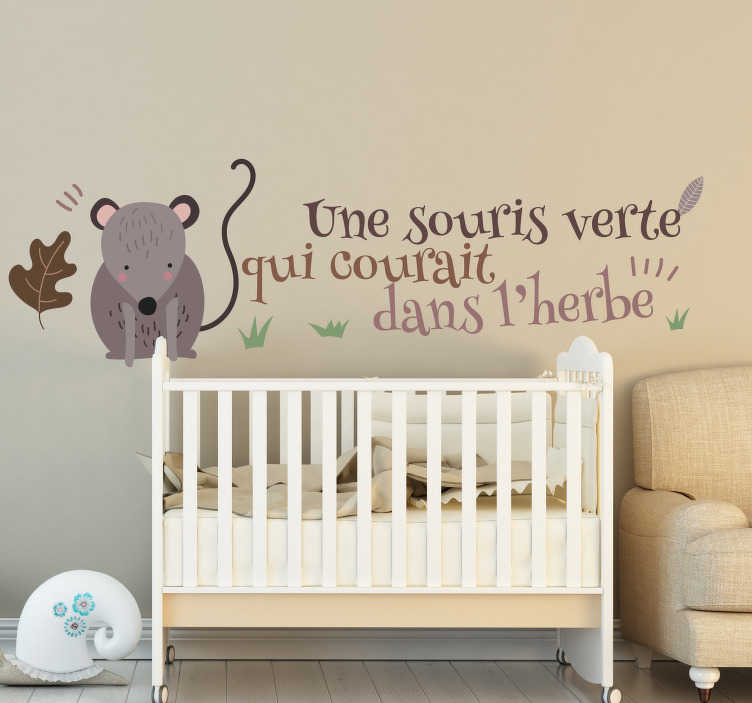 TenStickers. green mouse nursery rhyme decal. Nursery rhyme wall sticker with the design of a mouse and rhyme for children. Easy to apply and adhesive. It is available in different sizes.