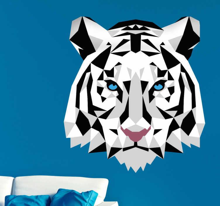 Tenstickers. Geometrisk tiger väggdekoration. En geometrisk väggklistermärke av en vit tiger med blå ögon. Sätt den här moderna och vackra designen på väggar i alla rum i ditt hus!