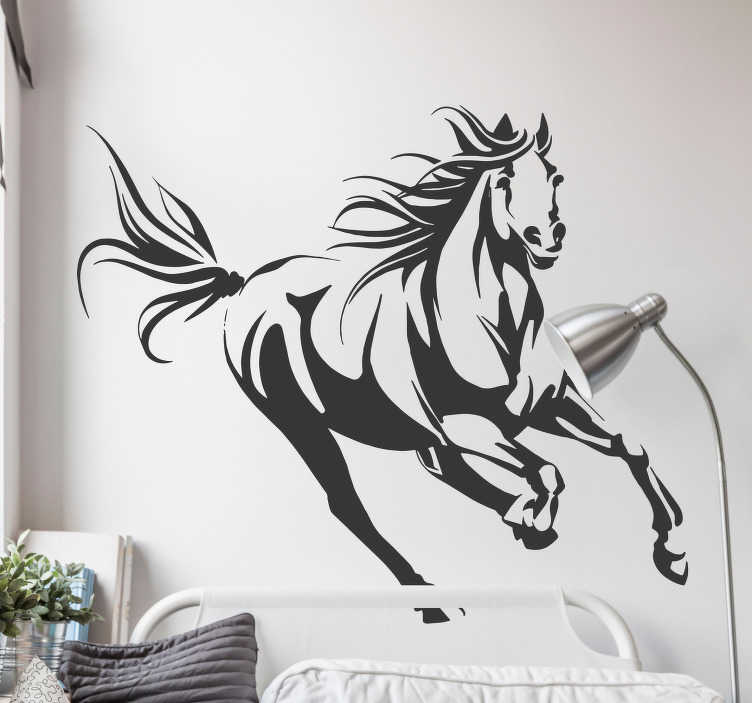 TenStickers. Galloping Horse Wall Sticker. Adorn your walls with this magnificent horse thanks to our wall design! Choose your size.