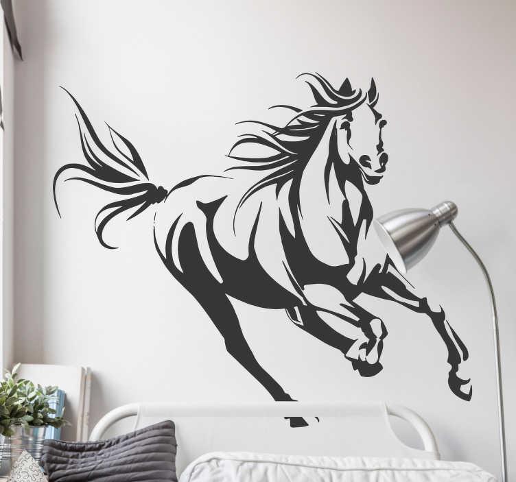 TENSTICKERS. ギャロッピング馬のリビングルームの壁の装飾. ギャロッピング馬を示す楽しい馬のステッカー!あなたが馬や乗馬を愛している場合、このステッカーはあなたの寝室やリビングルームの壁に必要不可欠です!