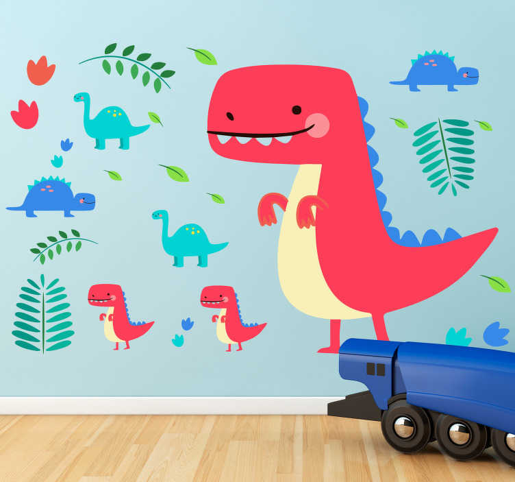 TenStickers. Naklejka na ścianę Czerwone dinozaury. Naklejka dla dzieci, przedstawiająca czerwone, wesołe dinozaury, otoczone różnymi roślinkami. Naklejka, która odmieni pokój Twojego dziecka i wywoła w nim ciekawość świata. Winyl, który musisz mieć!
