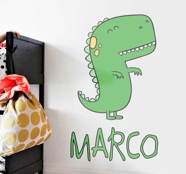 TenStickers. Gepersonaliseerde sticker dinosaurus met naam. Decoreer de kinderkamers met deze gepersonaliseerde muursticker. Omvat een dinosaurus en een aanpasbare naam of tekst. Bepaal zelf het formaat.