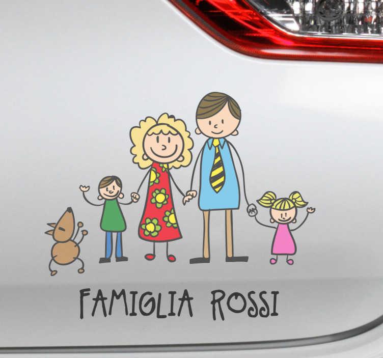 TenStickers. Adesivo auto famiglia colorato. Adesivo auto famiglia in colori sgargianti e personalizzabile con il vostro nome Trasforma la tua macchina e rendila originale con questo fantastico adesivo macchina famiglia