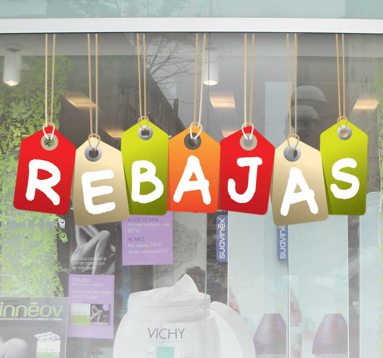 TenStickers. Hang tags sale wall sticker. This shop window decal is exactly what you need to promote your sales in a very original way! Anti-bubble vinyl, very easy to apply.