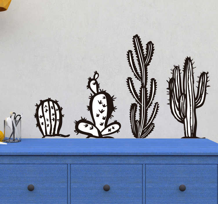 TenStickers. Raamstickers planten Zwart witte cactussen. Deze zwart witte muursticker van cactussen is een leuke aanwinst voor de decoratie van uw woning. Afmetingen naar eigen wens aan te passen.