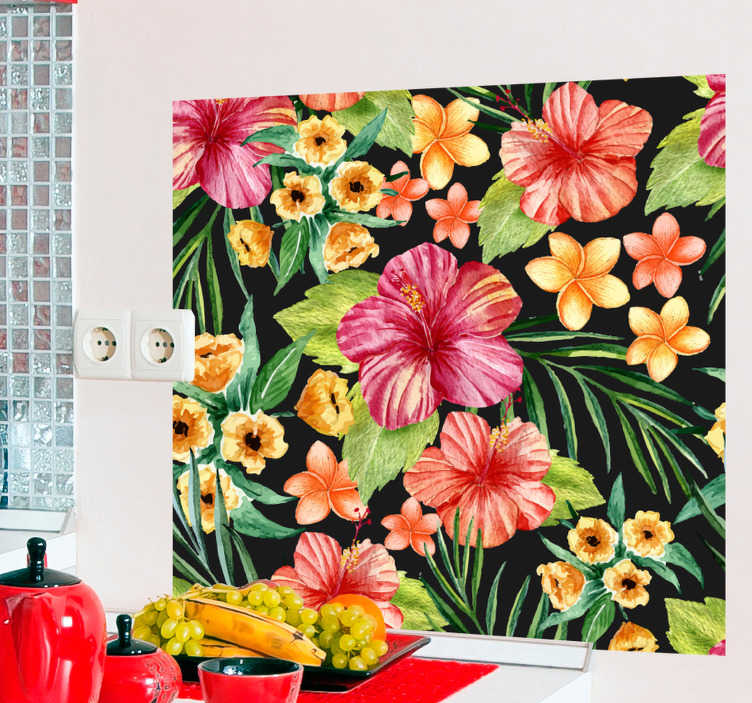 TenStickers. Autocolante sala de estar flores tropicais. Vinil autocolante para cozinha ideal para dar mais cor e brilho às suas paredes. Material resistente.