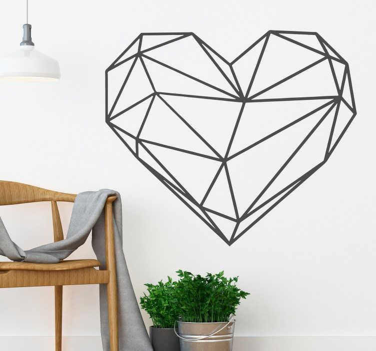 TenStickers. Autocolantes quarto de dormir coração origami. Autocolantes decorativos com linhas ideais para decorar a suas paredes e ao mesmo tempo dar-lhes um toque mais moderno e geométrico. 50 cores disponíveis.