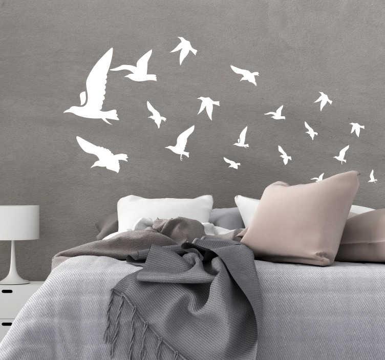 TenStickers. Muursticker Hoofdbord duiven. Wordt elke dag vrolijk wakker met deze hoofdbord sticker van duiven in uw slaapkamer. Pas de sticker naar eigen wens aan door de kleuren en afmetingen te kiezen.