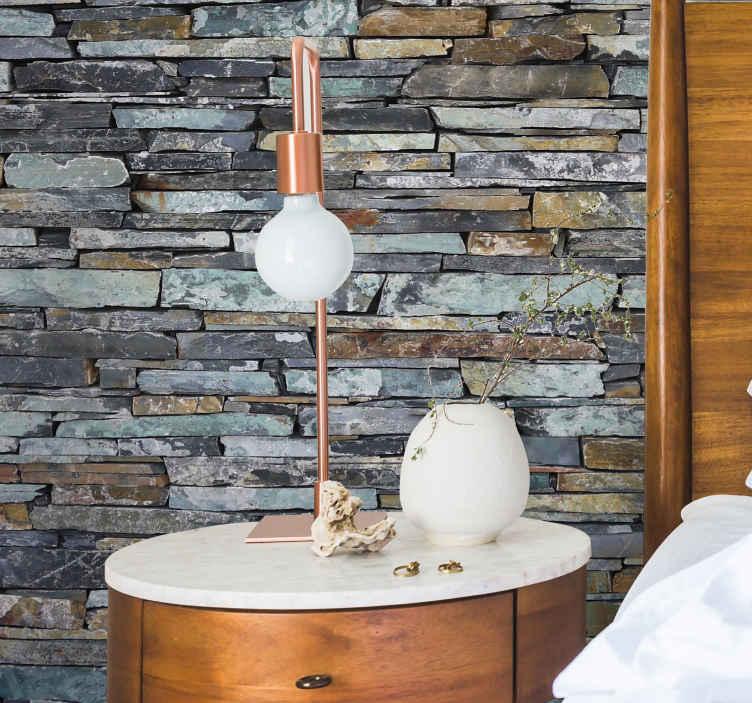 TenStickers. Autocolantes para hall de entrada pedras. Vinil autocolante de padrões com texturas ideal para tornar a sua sala de estar ainda mais elegante e moderna. Aderem a qualquer superfície lisa e limpa.