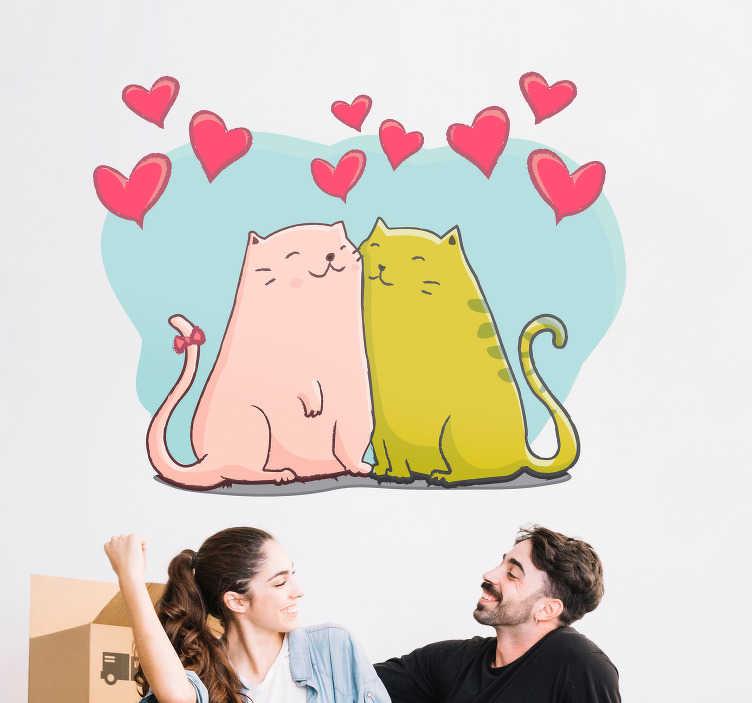 TenStickers. Decoratie muurstickers Katten en harten. WIlt u Valentijnsdag op een originele manier vieren? Doe dit met deze schattige muursticker van katten en hartjes. Bepaal zelf de afmetingen.