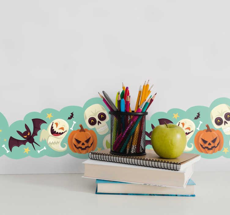 TenStickers. Sticker Chambre Enfant Ornements d'Halloween. Squelettes, Citrouilles, Fantôme et Chauves Souris ... Tous les personnages présents dans ce Sticker Frise qui vous accompagnera partout dans votre maison. Livraison Rapide.