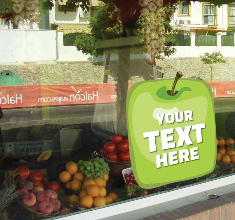 TenStickers. Grocery Fruit Business Customisable Sticker. Customisable - Promotional - Business Stickers - A design ideal for any retail business. Green apple cube design great for promotion.