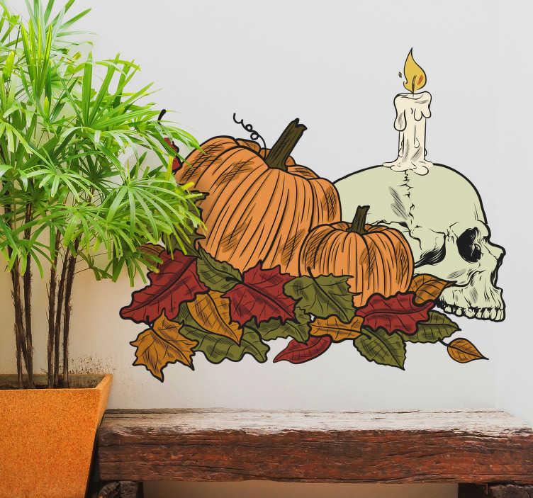 TenStickers. Naklejki Halloween: czaszka, dynie i liście. Spektakularna naklejka na Halloween, przedstawiająca dynie, jesienne liście i czaszkę z płonącą świecą. Jeśli uwielbiasz Halloween i szukasz prostego i taniego sposobu na ozdobienie swojego mieszkania, ta naklejka jest idealna dla Ciebie! Nasi graficy pomogą Ci z projektem!