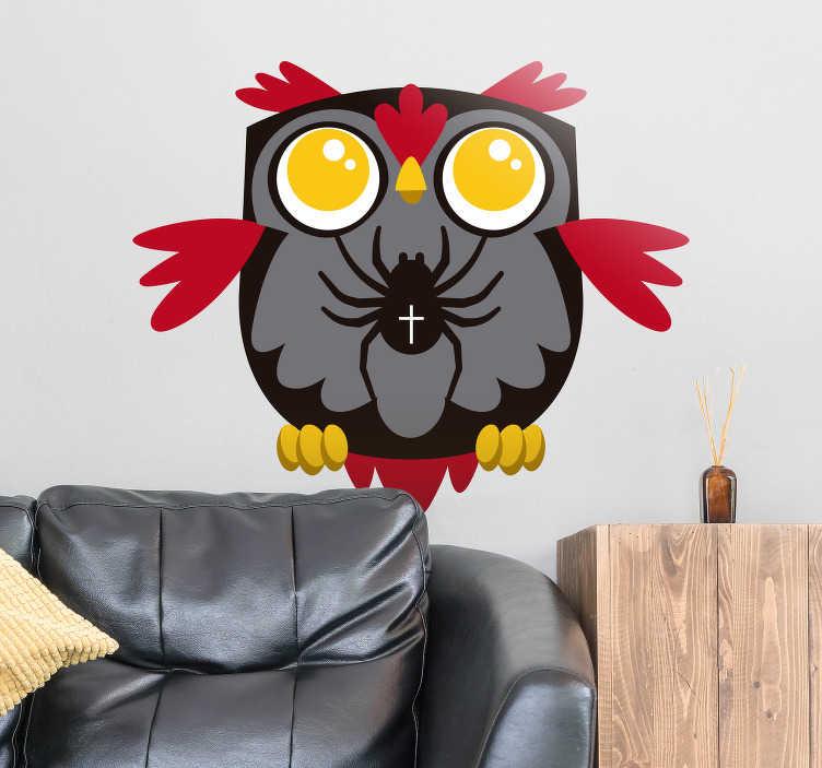 TenStickers. Naklejki na Halloween: sowa i pająk. Naklejka na ścianę, przedstawiająca rysunek sowy i pająka. Dekoracja ścienna idealna dla fanów przerażającego święta, jakim jest Halloween! Dzięki tej naklejce w prosty i tani sposób sprawisz, że Twoje Halloween będzie pełniejsze grozy! Wysyłka 24/48h!