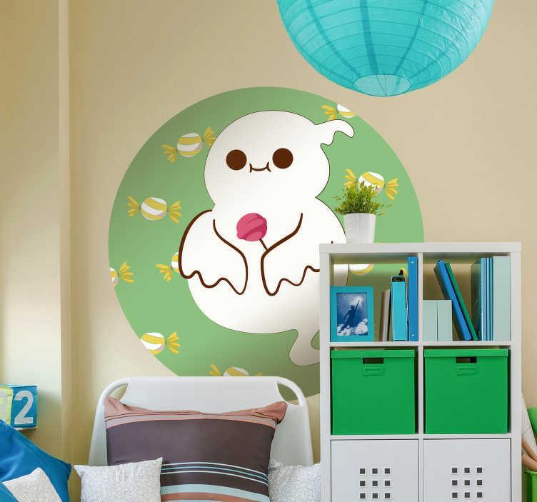 TenStickers. Halloween slik ghost monster klistermærke. Halloween nærmer sig hurtigere end du tror her kommer den perfekte halloween vægkonst til dit børns værelse.