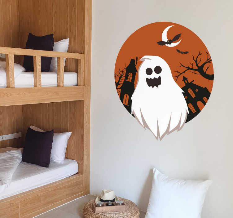 TenStickers. Sticker Halloween Fantômes et Chauves-souris de la Terreur. Bouuuh Bouuh ... Le fantôme est dans la chambre mais posé sur un  Sticker conçu pour Halloween. C'est l'occasion de vous faire peur avec ce Sticker. Stickers à Application Facile.