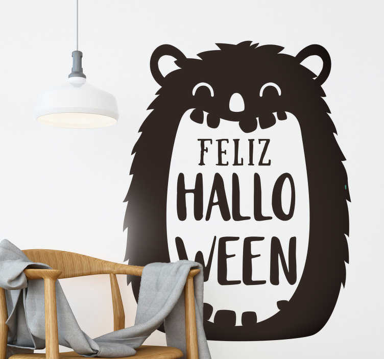TenStickers. Halloween party wall decal. Halloween festival sticker designed with a monster background and happy Halloween text. Easy to apply and self adhesive.