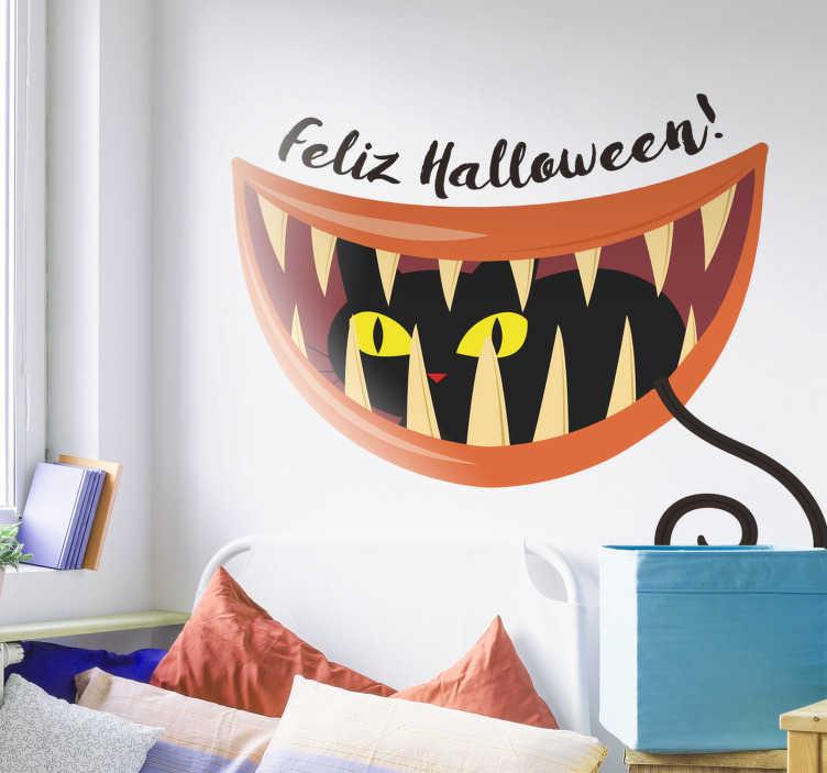 TenVinilo. Vinilo Halloween gato negro. Pegatina Halloween para decorar tu casa o negocio de una forma curiosa y llamativa. Más de 10.000 clientes satisfechos con nuestros productos