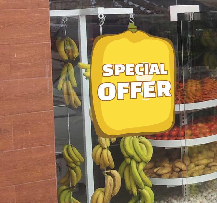 TenStickers. Naklejka oferta owoc. Naklejka na ścianę przedstawiająca kwadratową, żółtą cytrynę na której możesz umieścić dowolny napis. Oryginalny pomysł na wyróżnienie Twojej witryny sklepowej.