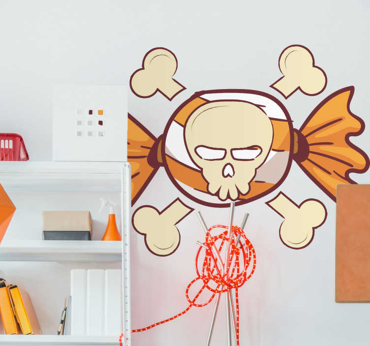 TenStickers. Skull and Crossbones Wall Sticker. Add a skull and crossbones to the wall of your home with this fantastic, Halloween inspired wall art decal! Easy to apply.