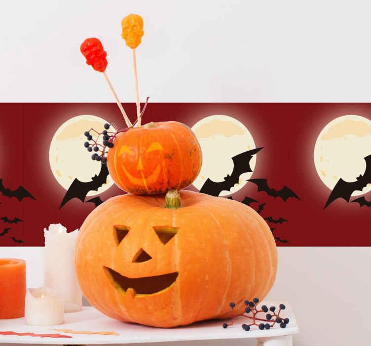 TenStickers. Autocolantes de halloween morcegos. Autocolante decorativo com desenhos de Halloween para decorar a sua casa nesta época festiva. Um processo muito fácil e rápido.