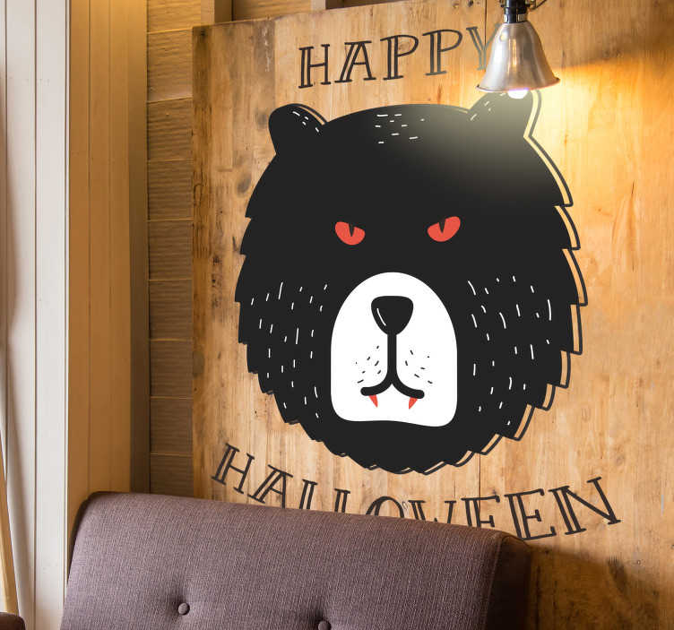 TenStickers. Grizzly Bear Happy Halloween Sticker. Decorate your home this October with our fantastic Grizzly bear sticker! Ideal for October themed spooky decor! Choose your size.