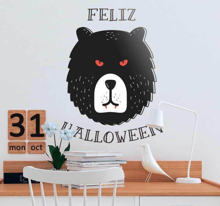 """TenVinilo. Pegatina feliz Halloween oso. Vinilo animal de terror, oso con colmillos a lo Drácula y el texto """"feliz Halloween"""" alrededor. Aprovecha nuestros fantásticos descuentos para nuevos usuarios"""