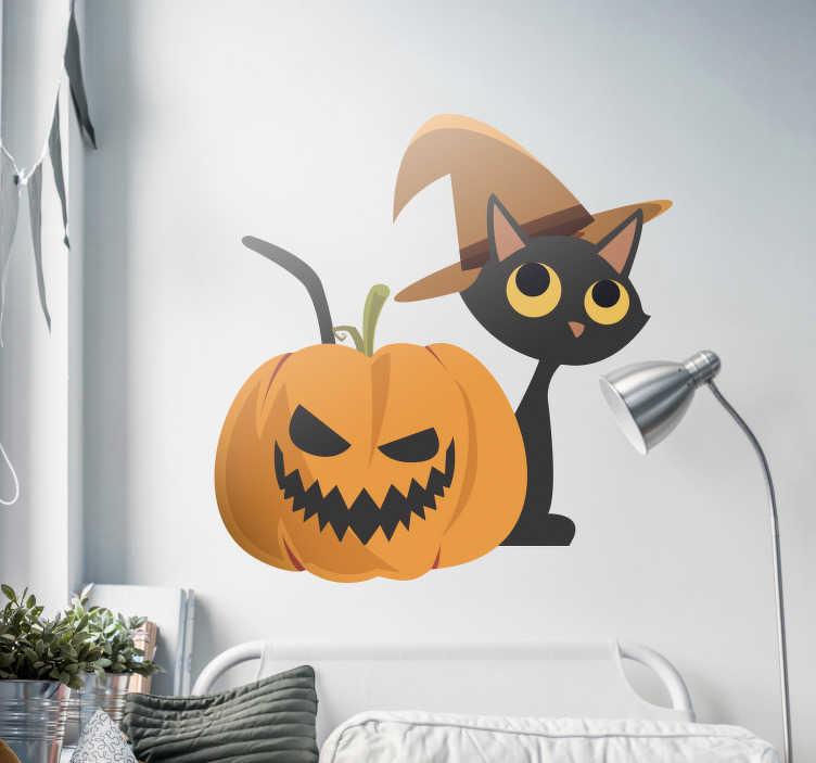 TenStickers. Naklejka na ścianę Halloween: czarny kot i dynia. Naklejka na ścianę, przedstawiająca czarnego kota i wyrzeźbioną Halloween'ową dynię! Idealna ozdoba z okazji Halloween, która sprawi, że jeszcze bardziej będziesz cieszył się na to święto! Ceny już od 8,75 zł!