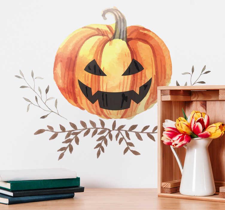 TenStickers. Halloween sticker Jack-o'-lantern pompoen. Creëer een griezelige sfeer in uw woning en kom in de Halloween stemming met de Jack-o'-lantern pompoen muursticker. Pas de afmetingen naar eigen wens aan.