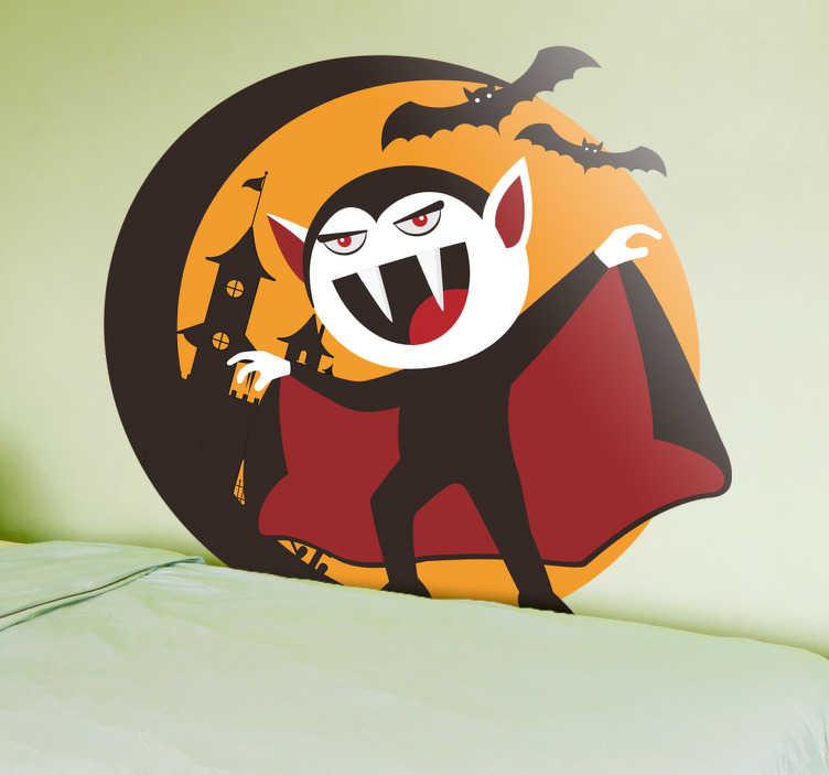 TenStickers. Naklejka na Halloween: Drakula. Naklejka ścienna przedstawiająca Drakulę na tle zamku otoczonego nietoperzami. Dekoracja ścienna idealna do pokoju dziecięcego ze względu na jej zabawny charakter. Naklejka może również służyć jako ozdoba na Halloween! Nasi graficy pomogą Ci z projektem!