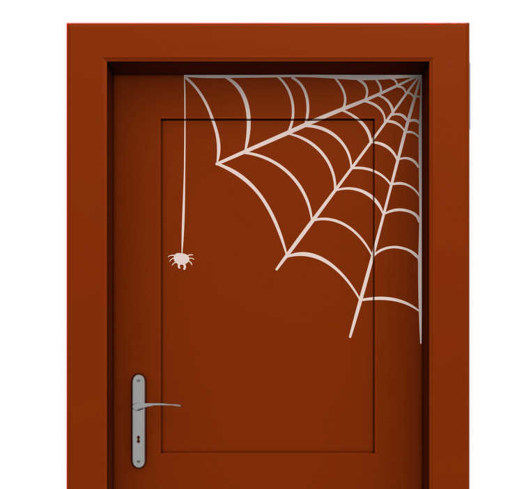 TenStickers. Naklejka na Halloween: pajęcza sieć. Naklejka na drzwi, przedstawiająca pajęczą sieć. Naklejka nada się jako idealna dekoracja na Halloween na róg ściany lub drzwi. Produkt może być dostosowany do Twoich potrzeb!