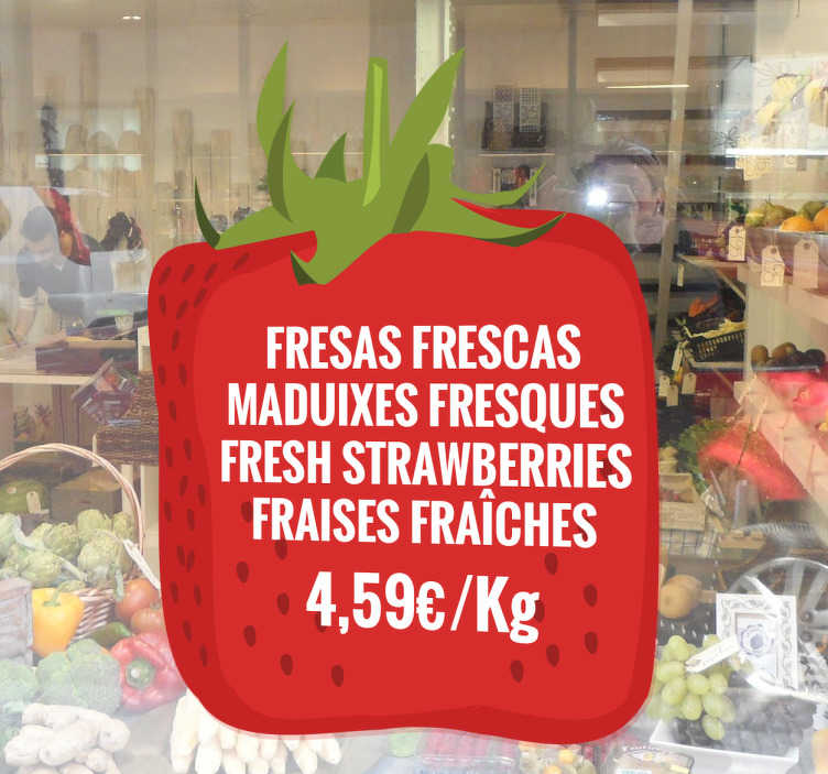 TenStickers. Strawberry Label Customisable Window Sticker. Beautiful, customisable and decorative cube-shaped fruit sticker. Strawberry decal with seeds to decorate your business in the most striking manner.