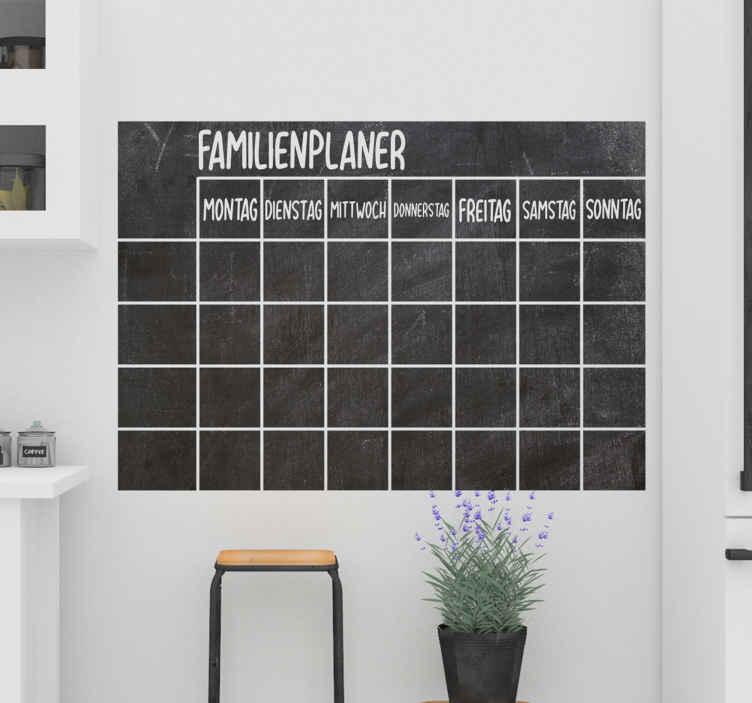 TenStickers. 에 쓸 가족 계획 칠판 스티커. 가정용으로 사용할 수있는 벽면 데칼. 주간 가족 계획 등을 구성하는 디자인. 원하는 크기로 제공됩니다.