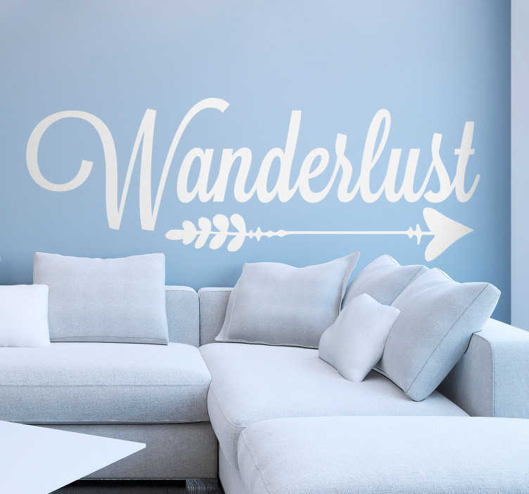 TenStickers. Adesivo viaggio freccia Wanderlust. Scritta adesiva per parete Wanderlust con il disegno di una freccia, ideale come originale decorazione per la camera o il salotto. Più di 50 Colori