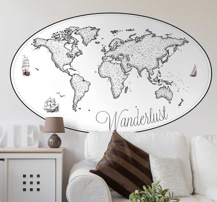 TenStickers. Wanderlust wereldkaart muursticker. Heeft u een erge lust om de wereld te verkennen? Dan is deze wereldkaart muursticker met de tekst Wanderlust perfect voor in uw slaapkamer of woonkamer.