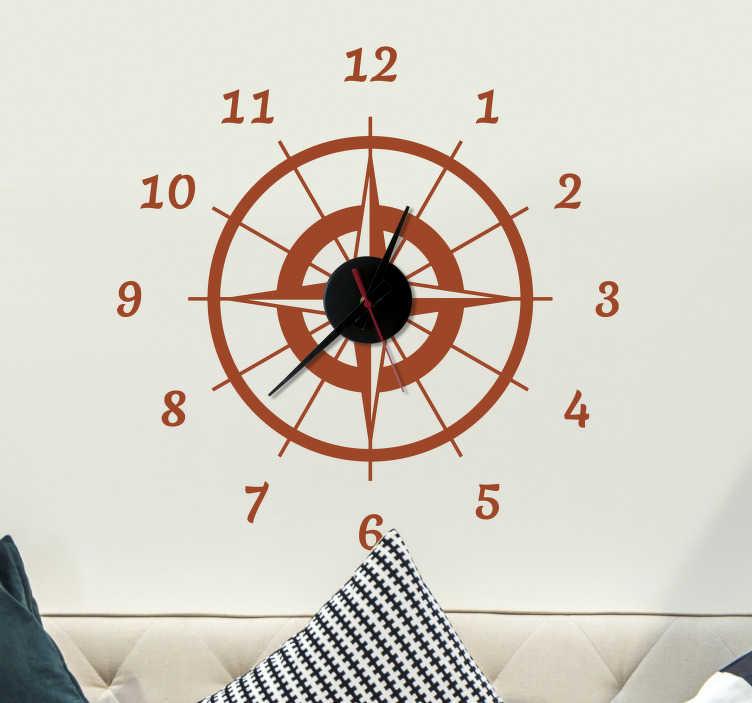 TenStickers. Samolepka kompasových nástěnných hodin. Tento nástěnný nástavec kompasu je perfektní výzdobou pro každého, kdo miluje cestování!