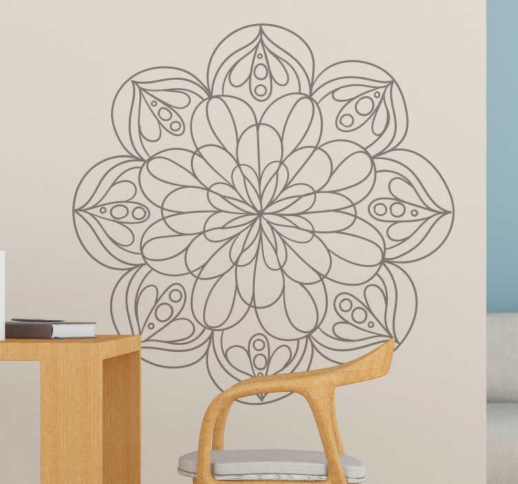 TenStickers. Autocolantes quarto de dormir flor mandala. Autocolantes com padrões florais que pode colar em qualquer área da sua casa. Autocolantes personalizados.
