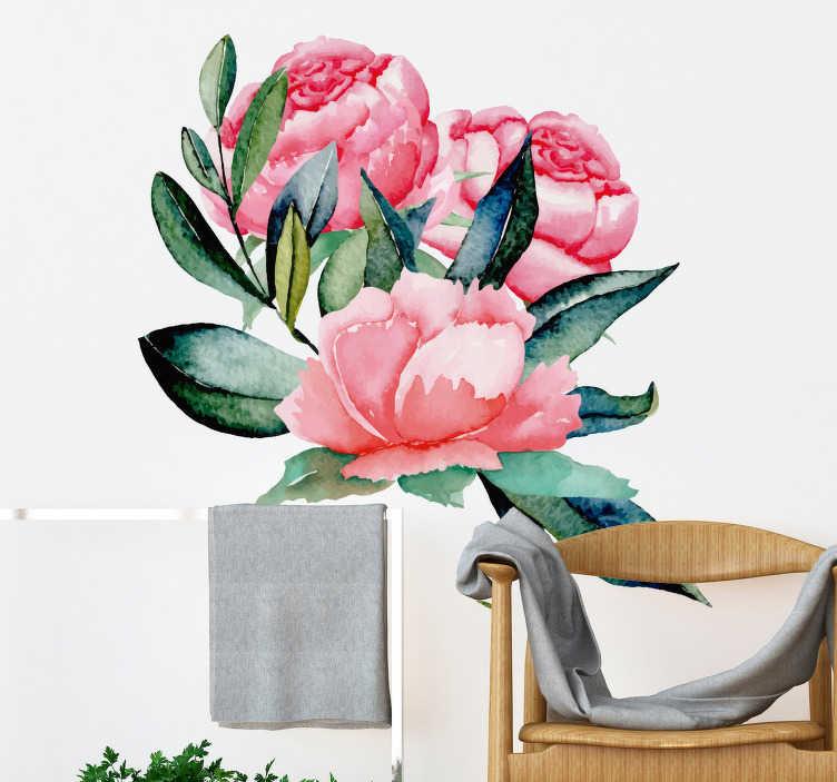 TenStickers. Dekorative peonies vægmaleri klistermærke. Skabe en god stemning i soveværelset eller stuen ved at anvende denne væg klistermærke med tre peonies. Dimensioner kan tilpasses efter eget ønske.
