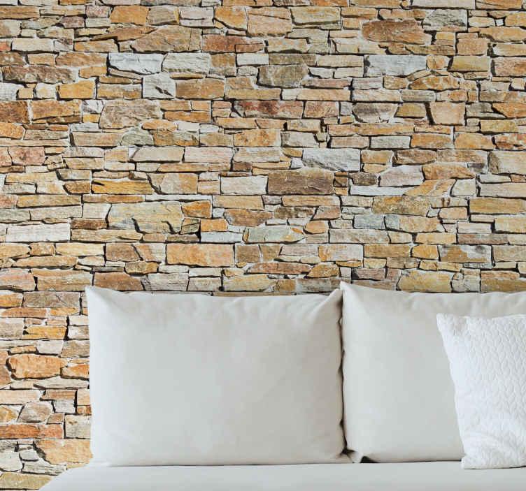 TenStickers. Nálepka nástěnné malby na zdi. Je čas poskytnout doma nový vzhled? Vyzkoušejte nástěnnou nálepku s cihlovou strukturou pro obývací pokoj, hala nebo jinou společenskou místnost.