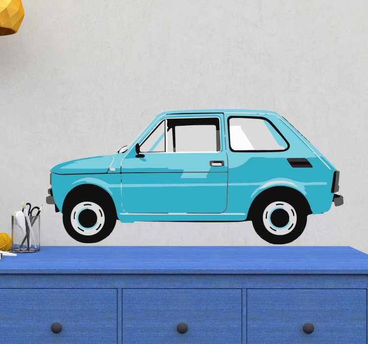 TenStickers. Naklejka błękitny maluch. Naklejka ścienna do pokoju dziecięcego, przedstawiająca klasyczny samochód Fiat 126p, czyli potocznie zwany... Maluch! Idealna dla miłośników samochodów! Nasi graficy pomogą Ci z projektem!