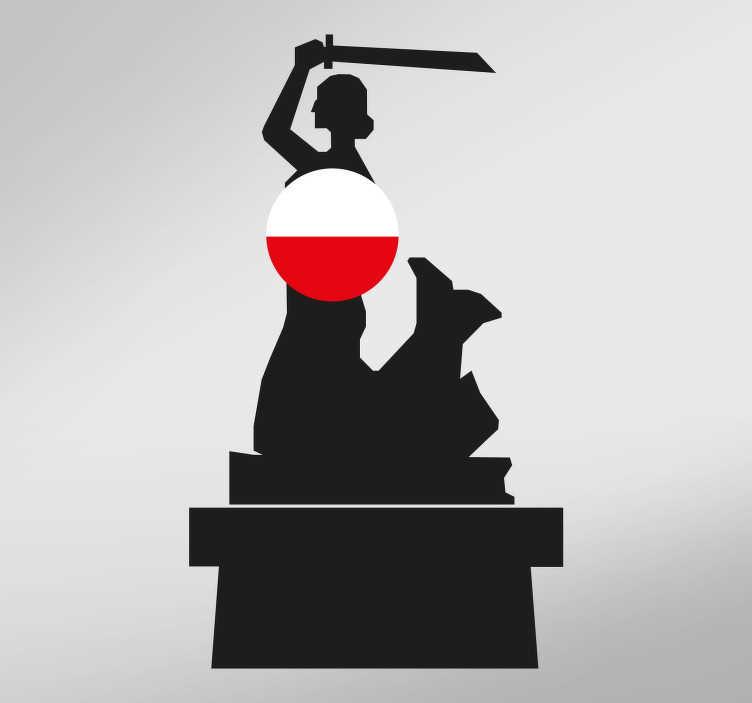 TenStickers. Naklejka na ścianę Warszawska Syrenka. Naklejka ścienna, przedstawiająca Syrenkę Warszawską, czyli herb i jeden z symboli Warszawy. Jeśli szukasz naklejki, dzięki której będziesz mógł wyrazić miłość do naszej ojczyzny, ta dekoracja jest idealna dla Ciebie! Produkt może być dostosowany do Twoich potrzeb!