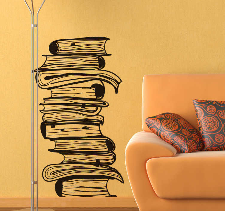 TenStickers. Stack of Books Wall Sticker. Books wall sticker showing a pile of books stacked on top of each other, great for creating the perfect atmosphere for reading. Use this stack of books wall decal to show off your love of reading in any room in your home or library!