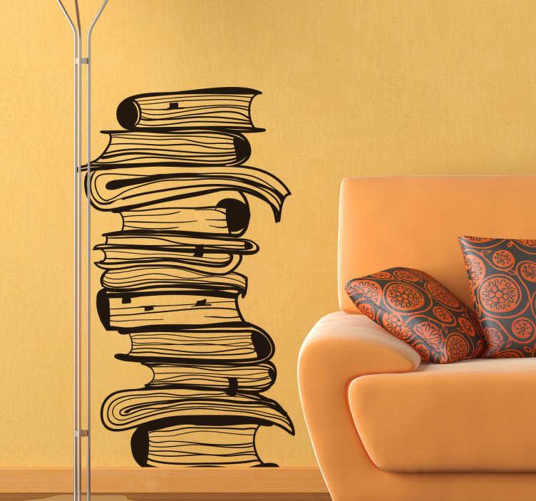 TENSTICKERS. 本の壁のステッカーのスタック. 本の壁のステッカーは、お互いの上に積み重ねられた本の積み重ねを示し、読書のための完璧な雰囲気を作り出すのに最適です。あなたの家や図書館のどの部屋でも読書の誇りを示すために、この本の壁のデカールを使用してください!