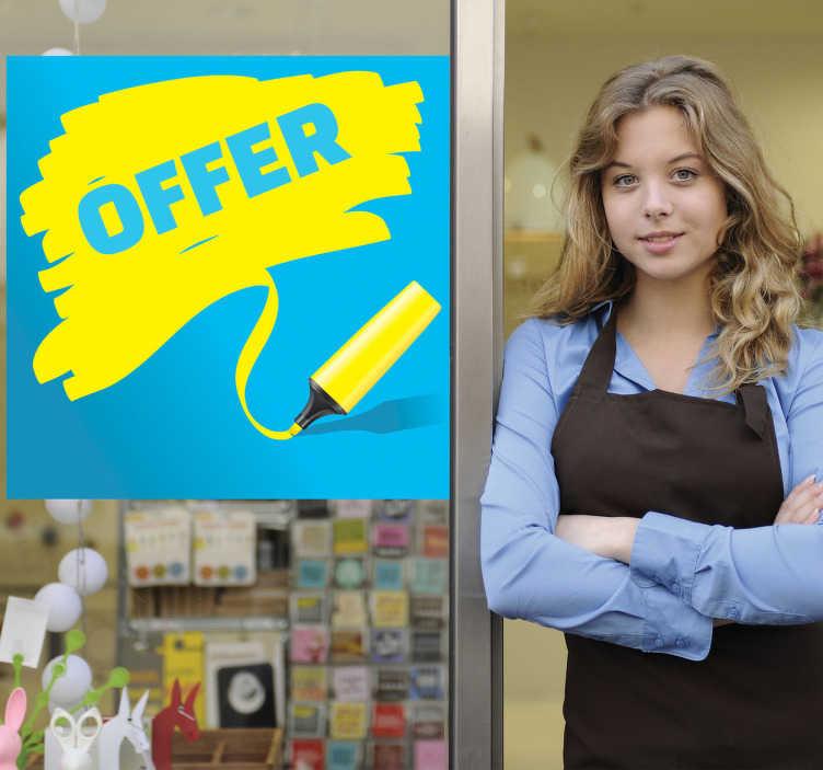TenStickers. Sticker offre feutre fluo. Illuminez votre vitrine ou votre bureau grâce à ce message bleu et jaune fluo sur votre sticker.