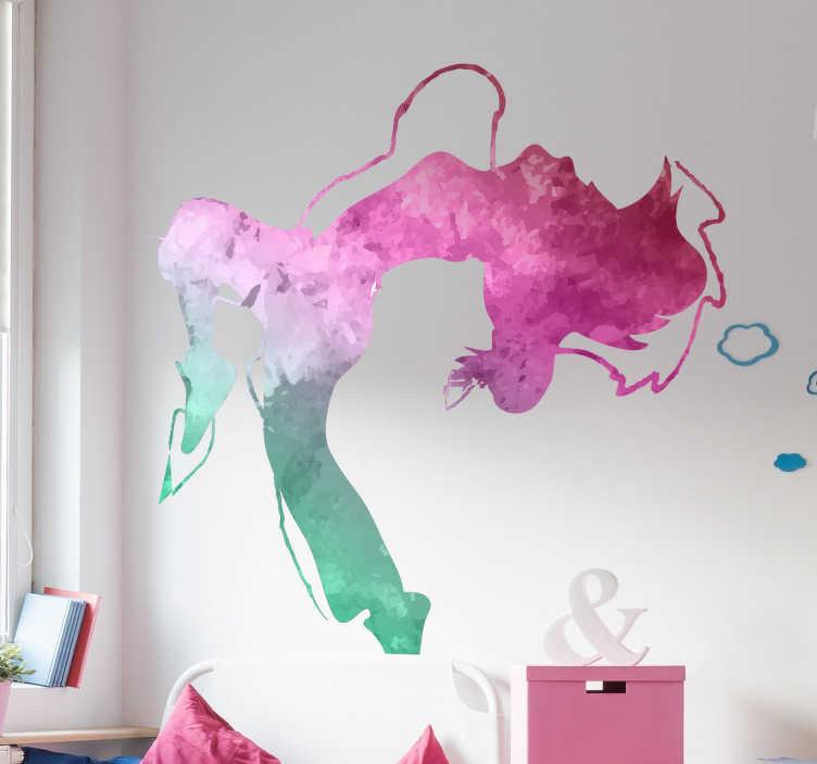 TenStickers. Naklejka na ścianę sylwetka Taniec nowoczesny. Naklejki na ścianę sylwetki taneczne to ciekawy pomysł na dekorację pokoju dziecięcego lub młodzieżowego. Kolorowa sylwetka taneczna.