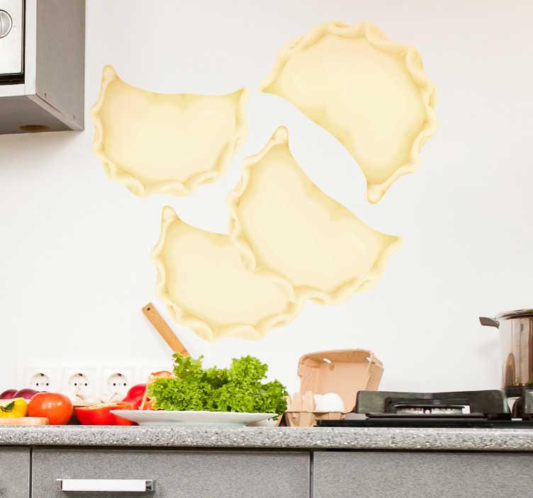 TenStickers. Naklejka na ścianę pierogi. Naklejka ścienna, przedstawiająca ulubioną potrawę wszystkich Polaków - pierogi! Udekoruj ściany swojej kuchni lub jadalni z tą wyjątkową naklejką! Nasi graficy pomogą Ci z projektem!