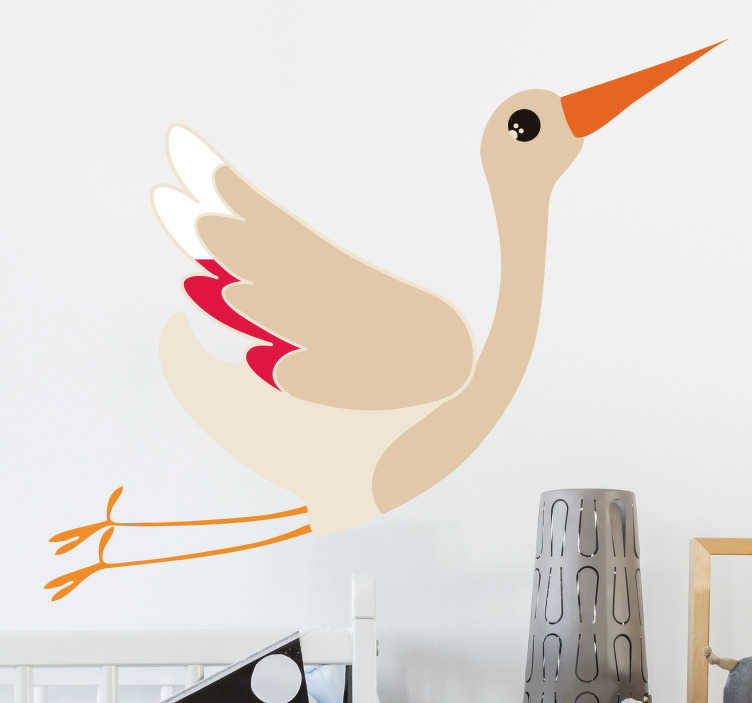 TenStickers. Flying Stork Wall Sticker. A beautiful wall decal depicting a magnificent stork in full flight.