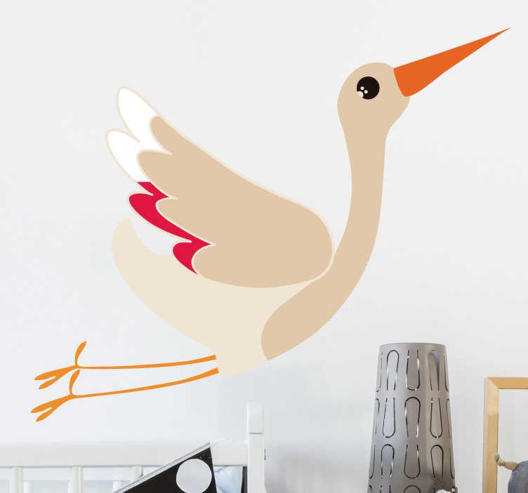 TenVinilo. Vinilo pájaro Cigüeña volando. Original vinilo adhesivo para habitación infantil formado por la ilustración de un cigüeña. Atención al Cliente Personalizada.