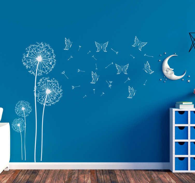 TenStickers. Slaapkamer muursticker paardebloemen met vlinders. Creëer sfeer in elke ruimte met deze sticker. Het ontwerp omvat meerdere vlinders en vier paardebloemen waarvan de zaden in de wind waaien.